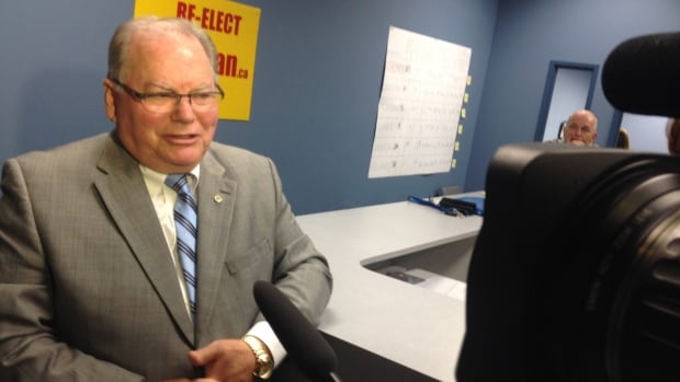 Grant Nordman speaks to reporters after losing to Shawn Dobson in the St. Charles ward in the Oct. 22 civic election.