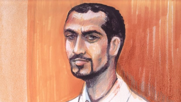 Omar Khadr is shown in an Edmonton courtroom in an artist's sketch on Sept. 23, 2013, almost exactly a year after he returned to Canada from Guantanamo Bay.