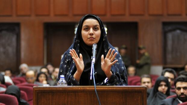 Reyhaneh Jabbari speaks in a Tehran courtroom on Dec. 15, 2008, defending herself during the first hearing of her trial for the killing of a former intelligence official.