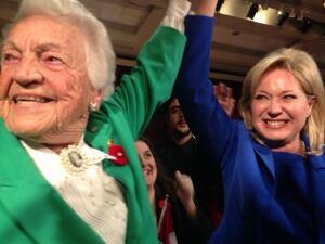 Longtime Mississauga mayor Hazel McCallion celebrates with mayor-elect Bonnie Crombie.