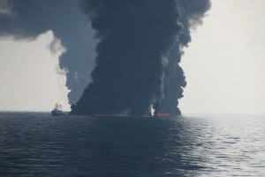 Controlled burning oil slicks