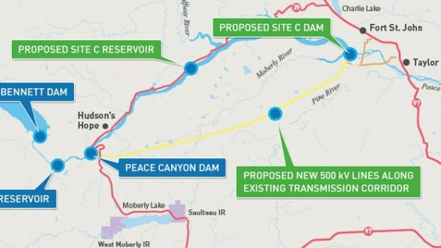 The Site C dam would be just southwest of Fort St. John in B.C.'s Peace River Valley.