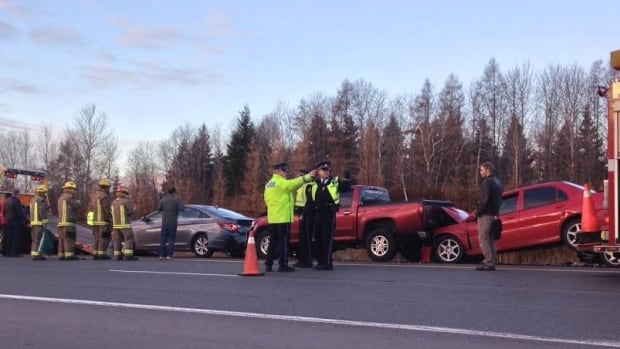 OPP Officers investigate a collision on Highway 11/17 in Thunder Bay in the fall of 2014.
