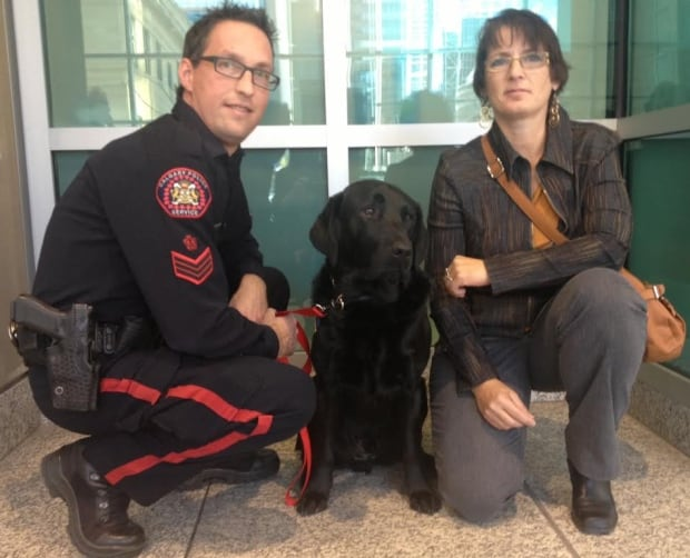 Hawk the trauma dog with his handlers