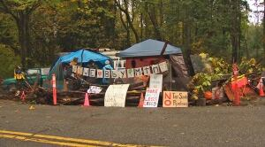 Kinder Morgan pipeline protest camp on Burnaby Mountain
