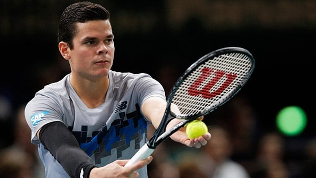The 26-year old son of father Dušan and mother Vesna, 196 cm tall Milos Raonic in 2017 photo