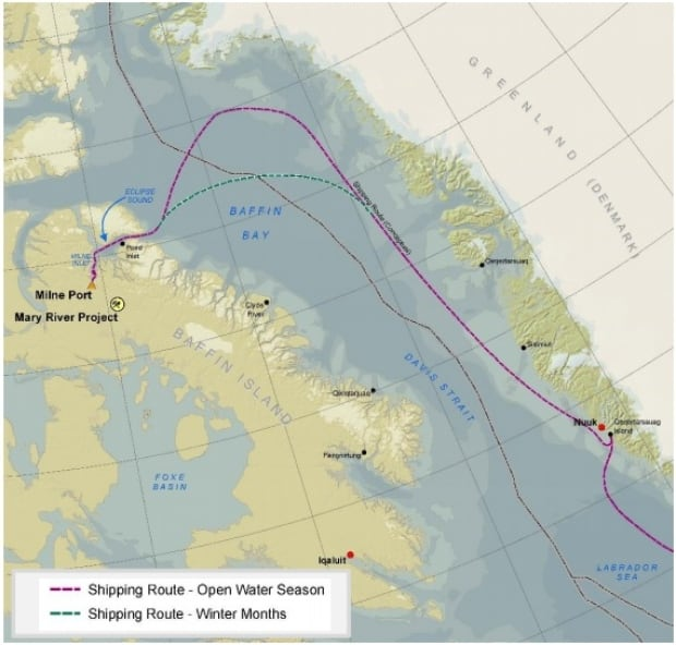 Baffinland Milne Inlet shipping route