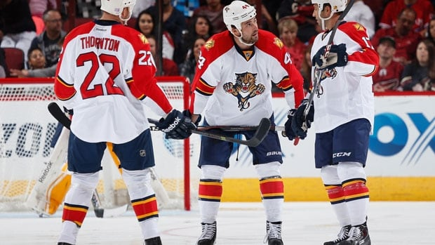 Shawn Thornton #22, Erik Gudbranson #44 and Derek MacKenzie #17 of the Florida Panthers, seen here during a game earlier this season, are part of an on-ice product that co-owner Doug Cifu is excited about.