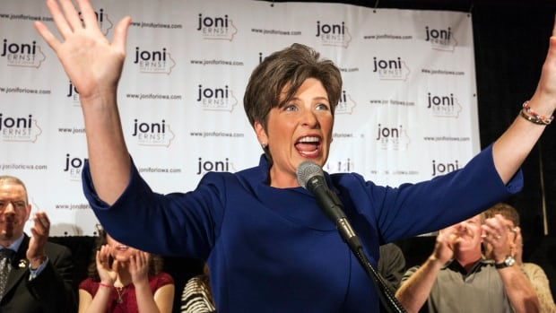 Republican candidate for U.S. Senate Joni Ernst reacts after the results in U.S. midterm elections in West Des Moines, Iowa, Tuesday night. Ernst was declared the winner over Democrat Bruce Braley.