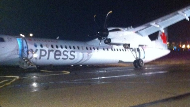 "This Air Canada plane was involved in an ""incident"" at Edmonton International Airport on Thursday night."