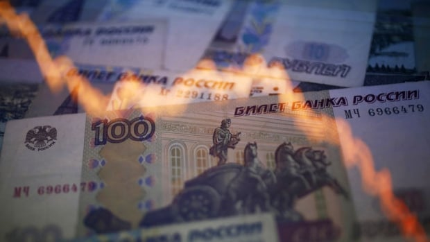 The Russian ruble is down 30 per cent so far this year against the U.S. dollar. Now the central bank has stopped intervening to support it.