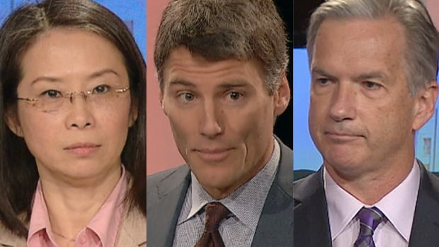 The Vancouver mayoral candidates left to right: Meena Wong, Gregor Roberton, and Kirk LaPointe.