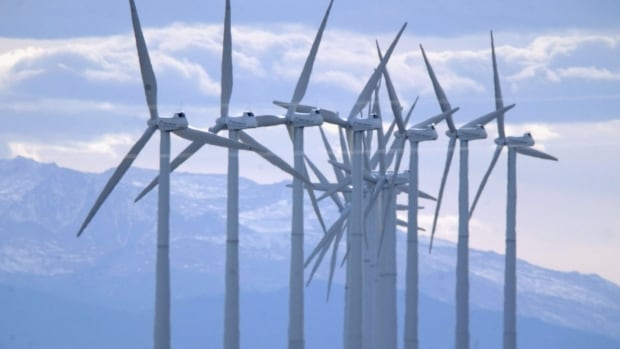 Turbines blow in the wind south of Cheyenne, Wyo. Half of the new power generation capacity built in 2014 was renewable, according to UNEP.
