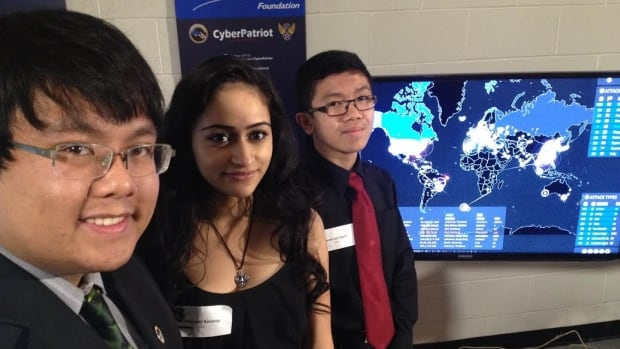 From Left Jarren Mercado, Manpreet Kensray and Deven San Miguel are part of Sisler High School's network and cyber security academy.