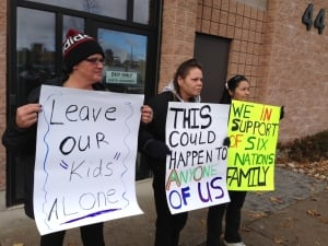 Brantford protesters outside courthouse.