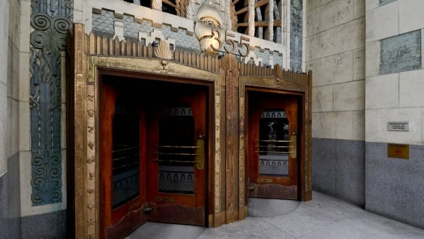The Marine Building is heavily adorned with Art Deco style decorations.