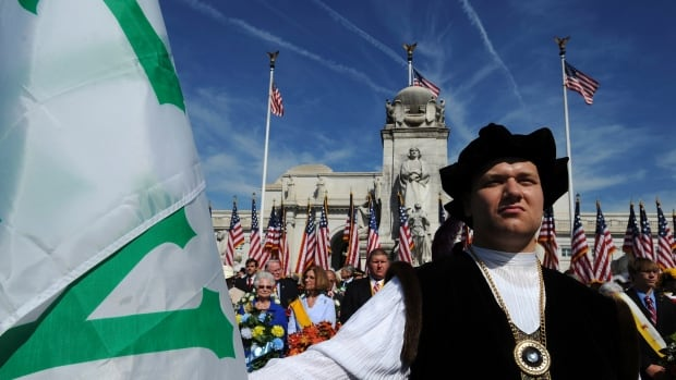 An American portrays Christopher Columbus during a Columbus Day in 2010. Turkish President Recep Tayyip Erdogan says contact between Islam and Latin America dates to the 12th century.