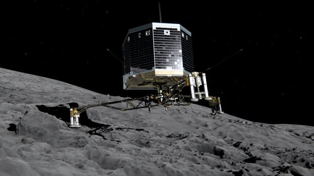 The Philae lander, seen in an illustration taken from an ESA animation, sent back data from its experiments on the comet 67P/Churyumov-Gerasimenko before running out of batteries.