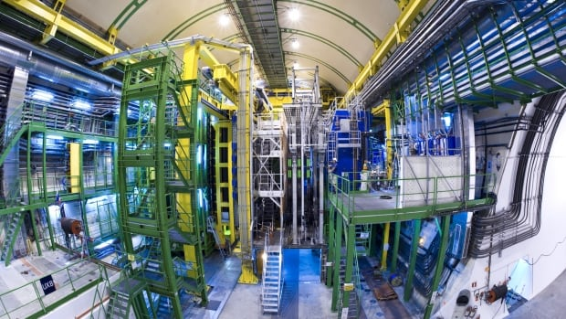 The new particles were discovered by the LHCb experiment, which uses this detector.