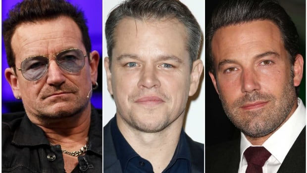 This composite shows U2's Bono and actors and directors Matt Damon and Ben Affleck. The men are just a few of the celebrities who stare silently into a camera in  the new PSA to pressure world leaders to fight Ebola.