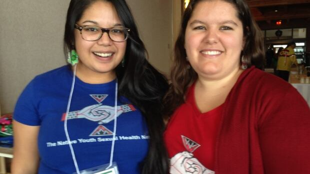 Alexa Lesperance (l) and Krysta Williams, both with the Native Youth Sexual Health Network, say youth need to lead the change in First Nations communities.