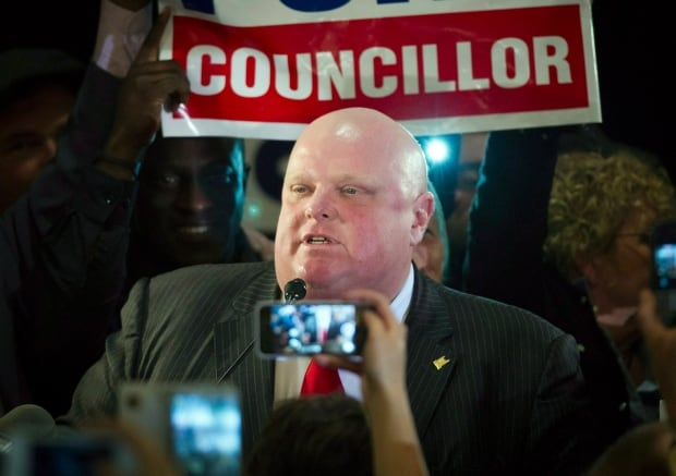 Mayor Rob Ford on Oct. 27, 2014 election night