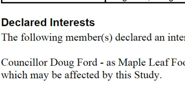 Doug Ford declaration of interest