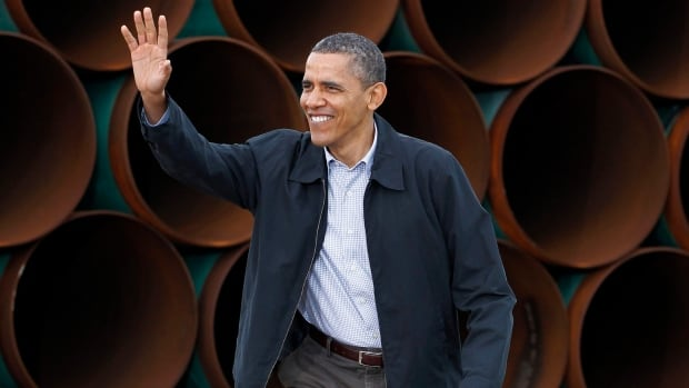 U.S. President Barack Obama visits TransCanada's Stillwater Pipe Yard in Cushing, Okla. during the 2012 presidential election campaign.