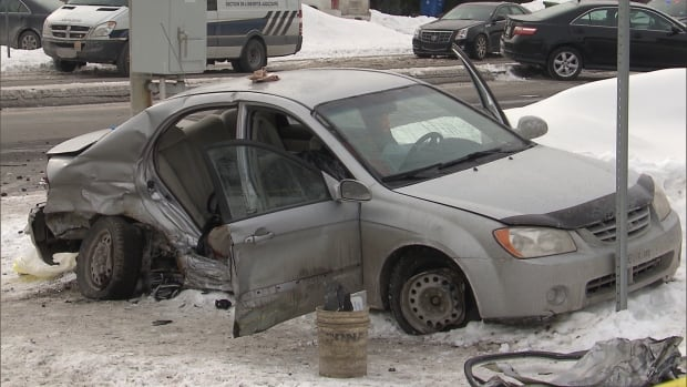 This sedan was carrying Mike Belance and his two children. His five-year-old son suffered a head trauma in the collision with a speeding police car and died in hospital.