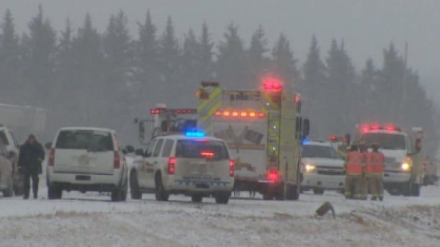 RCMP say icy road conditions were a factor in the collision that killed the four workers.