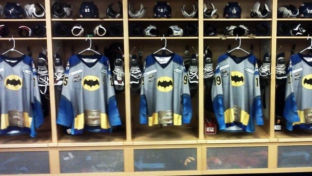 The Toledo Walleye and Evansville Icemen of the East Coast Hockey League wore special hero-themed hockey sweaters on Saturday night as part of a charitable endeavour.