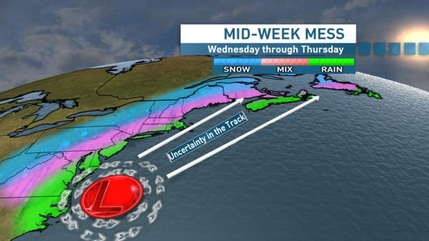 This overview shows the developing messy weather mid-week along the eastern seaboard.