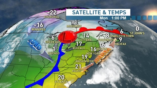 This satellite and temperature map shows the source of our current push of warm air