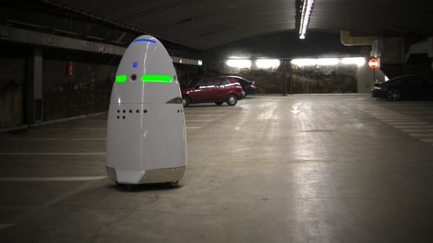 The Knightscope K5 is a robot security guard currently patrolling Microsoft's Silicon Valley campus.