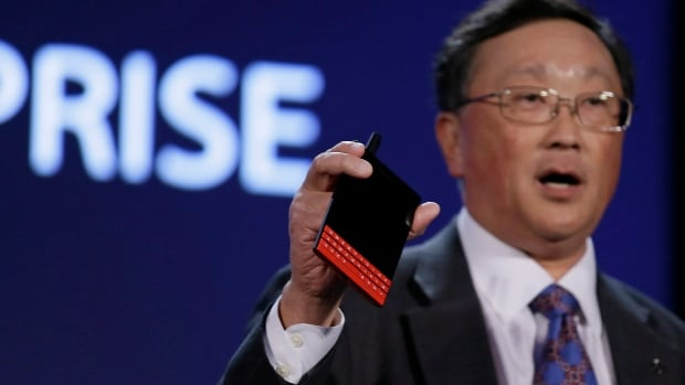 BlackBerry CEO John Chen helped announce Monday that the Passport smartphone is now available in red and white. The same day, the Waterloo, Ont.-based company said it would offer iPhone users up to $600 to switch to the Passport.