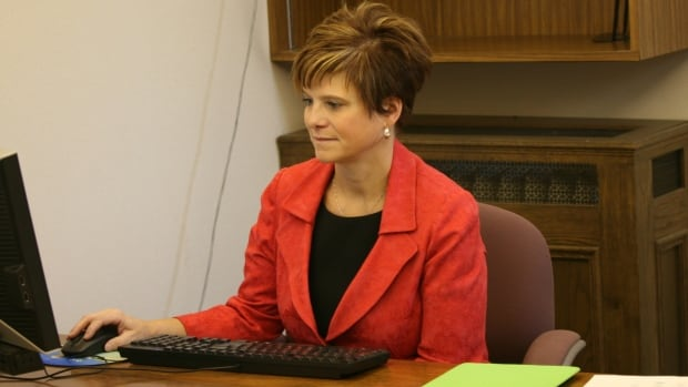 Innisfail-Sylvan Lake Kerry Towle sits in her new office in the Alberta legislature Tuesday morning.