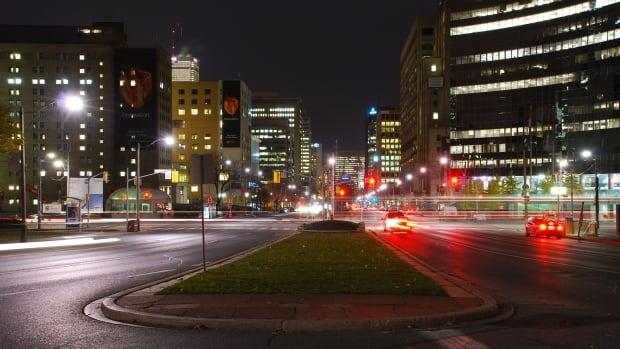 Looking down University Avenue.