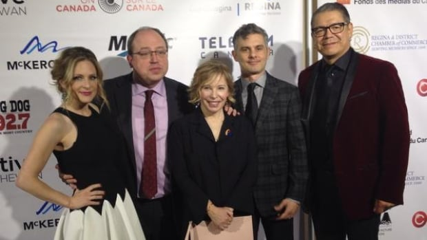 The stars of Corner Gas: The Movie at the Regina premiere of the Saskatchewan-made film based on the television series. From left to right, the cast members are: Tara Spencer-Nairn, Brent Butt, Nancy Robertson, Fred Ewanuick and Lorne Cardinal.
