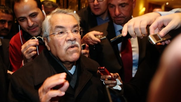 Saudi Arabian Oil Minister Ali al-Naimi talk to journalists he arrives at his hotel ahead of an OPEC meeting in Vienna on Monday. Al-Naimi said Wednesday he expects the oil market to stabilize itself