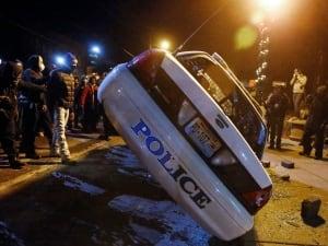 Ferguson police car flipped
