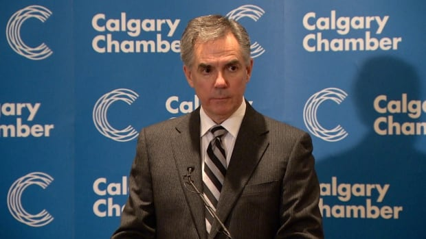 Alberta Premier Jim Prentice spoke to the Calgary Chamber of Commerce on Friday about the future impact of low oil prices.