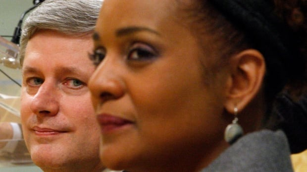 Michaelle Jean and Prime Minister Stephen Harper are seen at Rideau Hall in Ottawa in 2010.