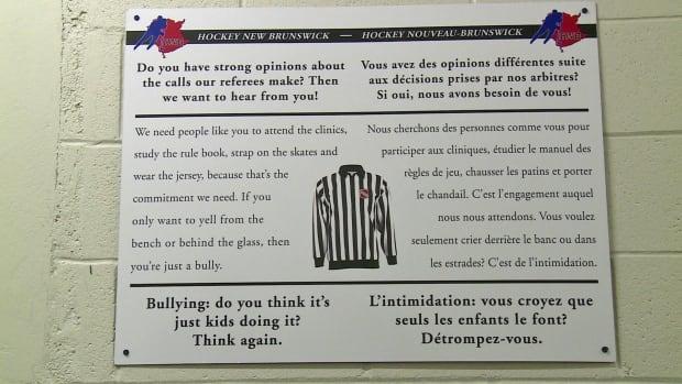 Hockey New Brunswick anti-bullying sign