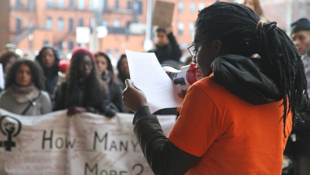 McMaster University student Kayonne Christy read a list of demands of the Hamilton Police Service at an anti-racism march in December.