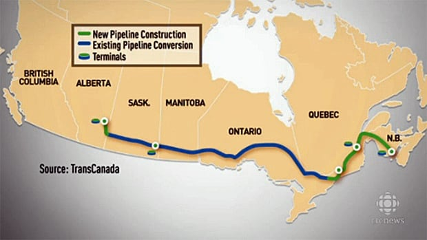 The proposed Energy East pipeline route.