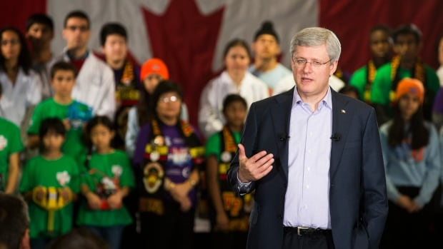 Canada's Prime Minister Stephen Harper is shown earlier Thursday announcing a research fund at an IBM office in Markham, Ont.