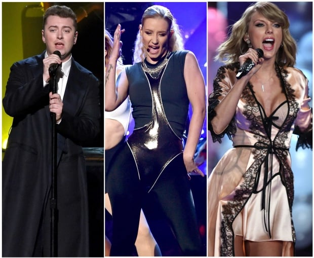 Sam Smith, Iggy Azalea and Taylor Swift