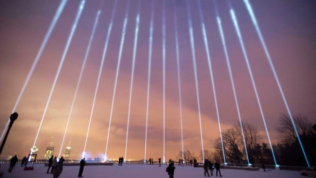 Beams of light were projected onto Montreal's night sky during a ceremony on Mount Royal to mark last year's anniversary of the Polytechnique massacre. A similar ceremony took place this year on Sunday night.