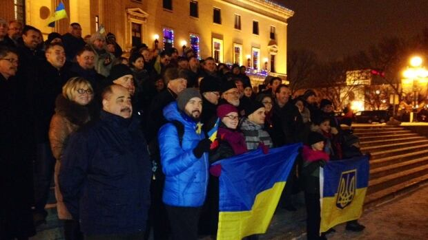 The Ukrainian Canadian Congress's Manitoba Provincial Council held rally at the legislature Sunday evening to mark the first anniversary of the Euromaidan and show solidarity with the Ukraine.