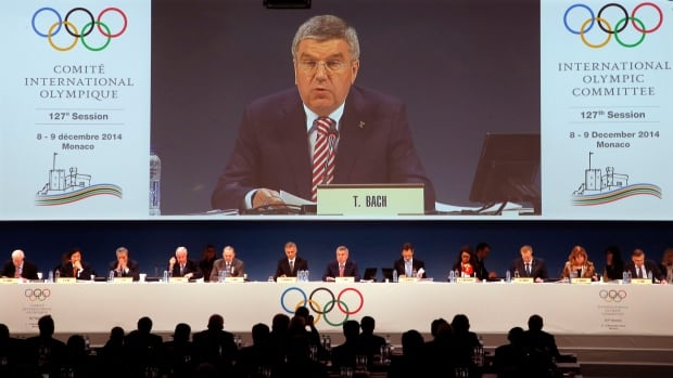 International Olympic Committee (IOC) President Thomas Bach delivers a speech during the opening of the 127th IOC session in Monaco on Monday.